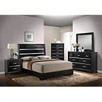 Kings Brand Furniture 6 Piece Black Finish Wood Queen Size Bedroom Set, Bed, Dresser, Mirror, Chest & 2 Nightstands