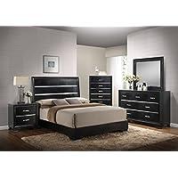 Kings Brand Furniture 6 Piece Black Finish Wood Queen Size Bedroom Set, Bed, Dresser, Mirror, Chest & 2 Nightstands