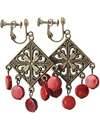 Handicrafts Bohemian Vintage Flower Clip on Earrings No Pierced Red Bead Dangle for Girls Women