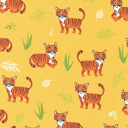 Big Cat Fabric - Wild Adventure - Tigers - Yellow - 100% Cotton - By the Yard