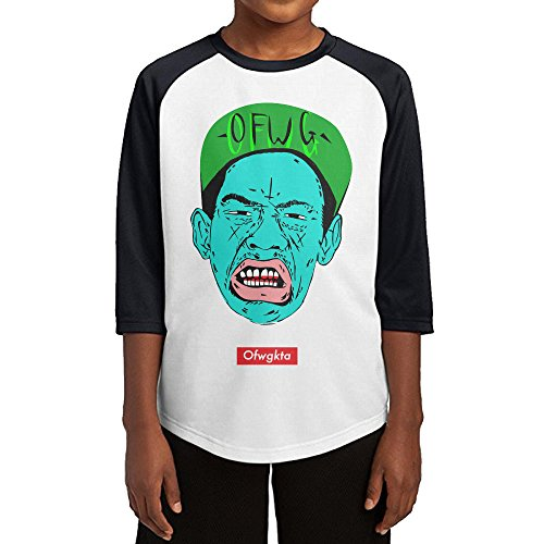 GUYT Youth Boys Tyler The Creator Raglan Baseball T Shirt Black Size M (Goblin Outfit)