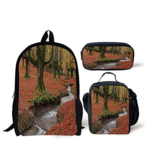 Schoolbags Lunch Bags,Landscape,Flowing Stream Colorful Autumn Forest Leaves Gorbea Natural Park Spain,Paprika Green,Print,Two Piece Set by iPrint