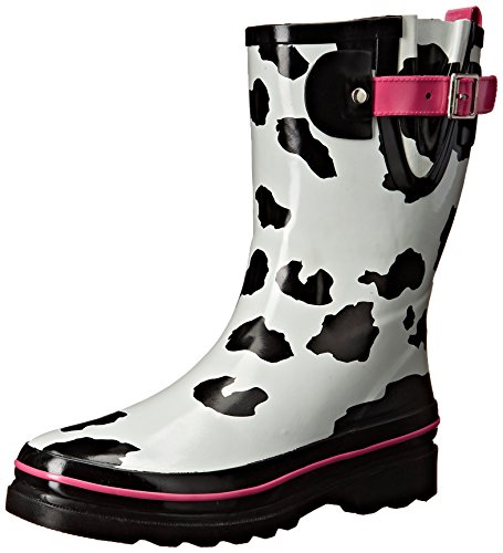 Western Chief Women's Printed Mid Rain Boot, Cow Spot, 9 M (Cow Western Boots)