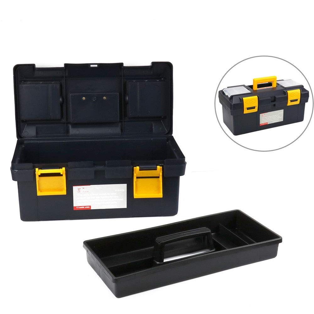 Tool Box 17'' Multifunction Plastic Portable Large Tool Storage Box Home Work