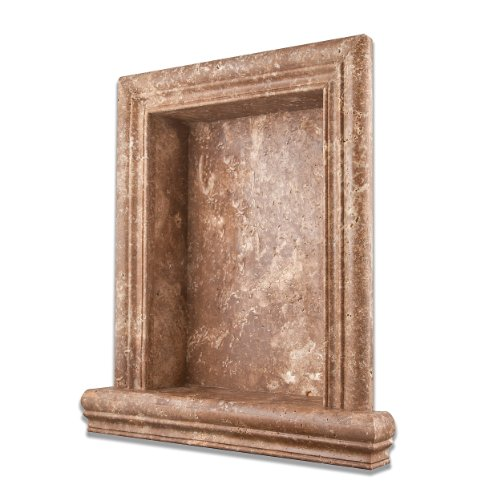 Chocolate Travertine Honed Hand-Made Custom Shampoo Niche - LARGE