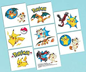 "Amscan Cute Pikachu and Friends Birthday Party Temporary Tattoos Favor (1 Sheet)-8 Tattoos, 2"" X 1 3/4"""