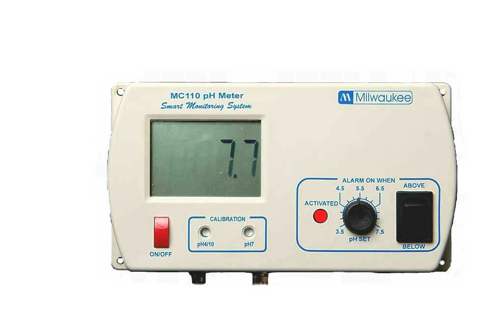 Milwaukee MC120 pH Monitor with Mounting Kit, 0.0 to 14.0 pH, +/-0.2 pH Accuracy, 5.5 to 9.5 pH Set Point