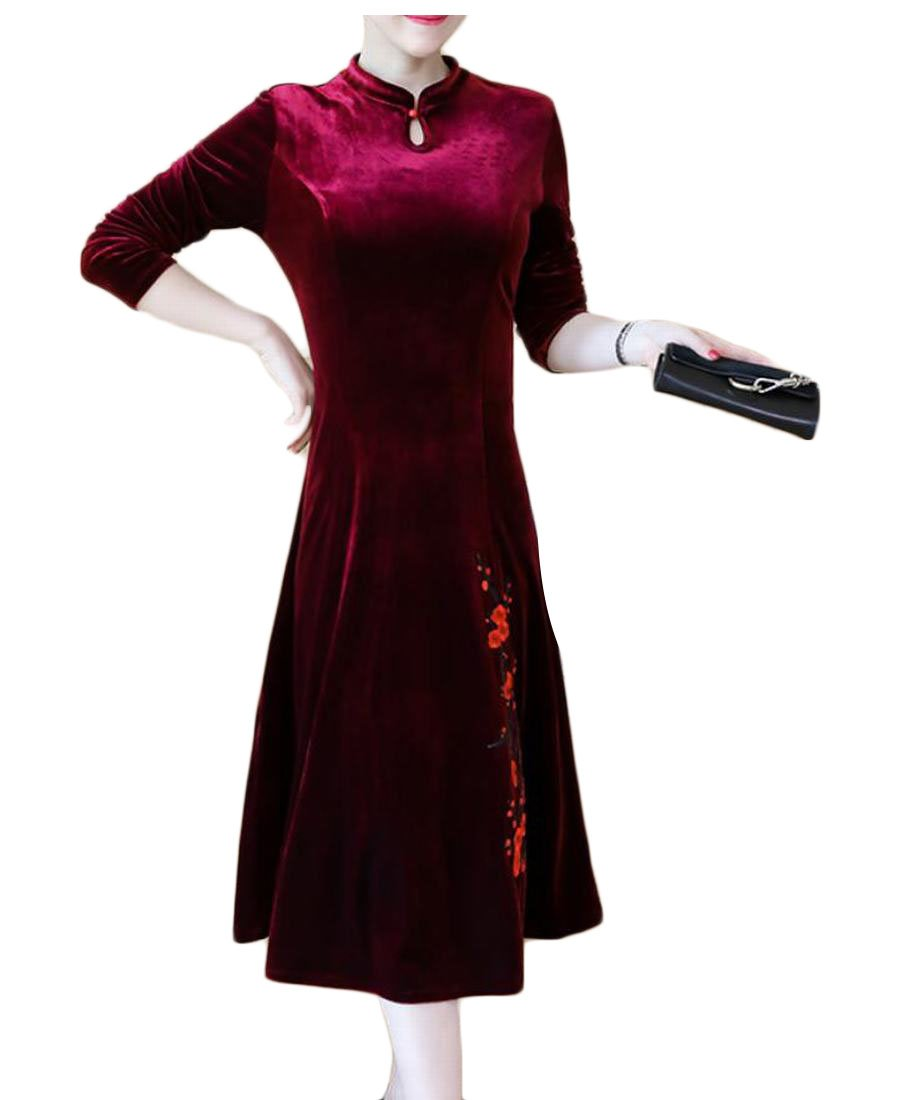 Jaycargogo Women's Winter Velvet Embroidery Print Cheongsam Qipao Dress Red XL