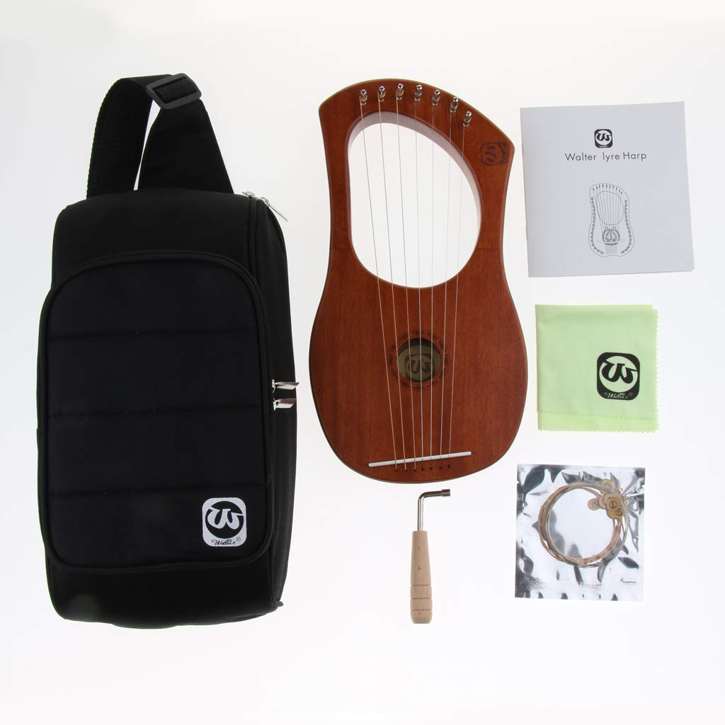 Baosity Mahogany 7 Strings Harp with Tuning Wrench&Bag for Learner Practice by Baosity (Image #7)