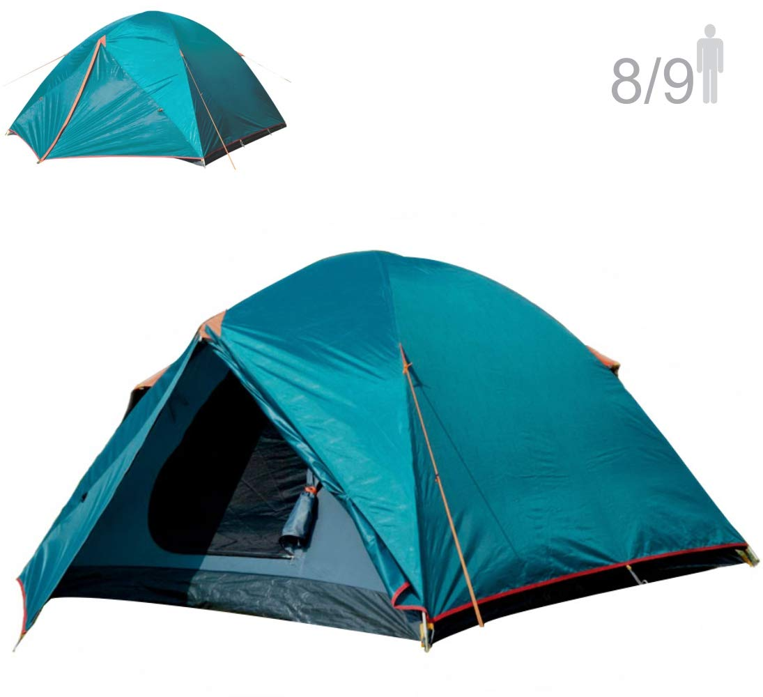 NTK Colorado GT 8 to 9 Person 10 by 12 Foot Outdoor Dome Family Camping Tent 100 Waterproof 2500mm, Easy Assembly, Durable Fabric Full Coverage Rainfly – Micro Mosquito Mesh