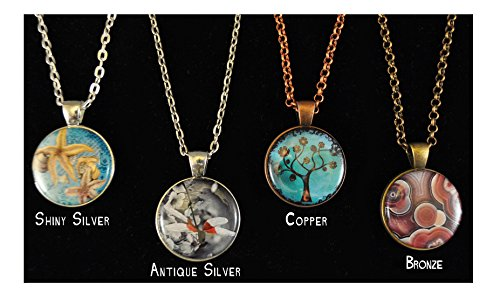Magnetic Pendant Necklace Decorative interchangeable Dressy Copper Silver Antique Silver Many finishing Choices - Compatible with all the 1 inch magnets we offer! (Copper, Agate) ()
