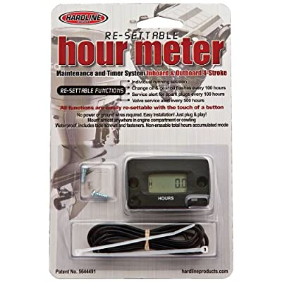 Hardline Products HR-8068 Re-Settable Black Hour Meter for Outboards: Automotive