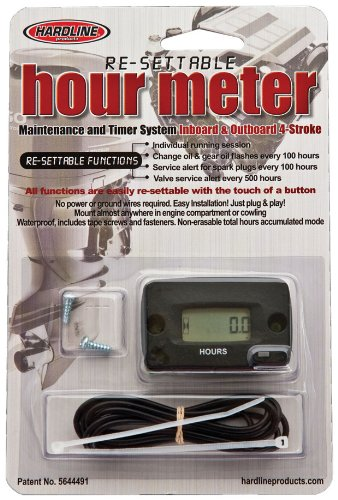 Hardline Products HR-8068 Re-Settable Black Hour Meter for Outboards
