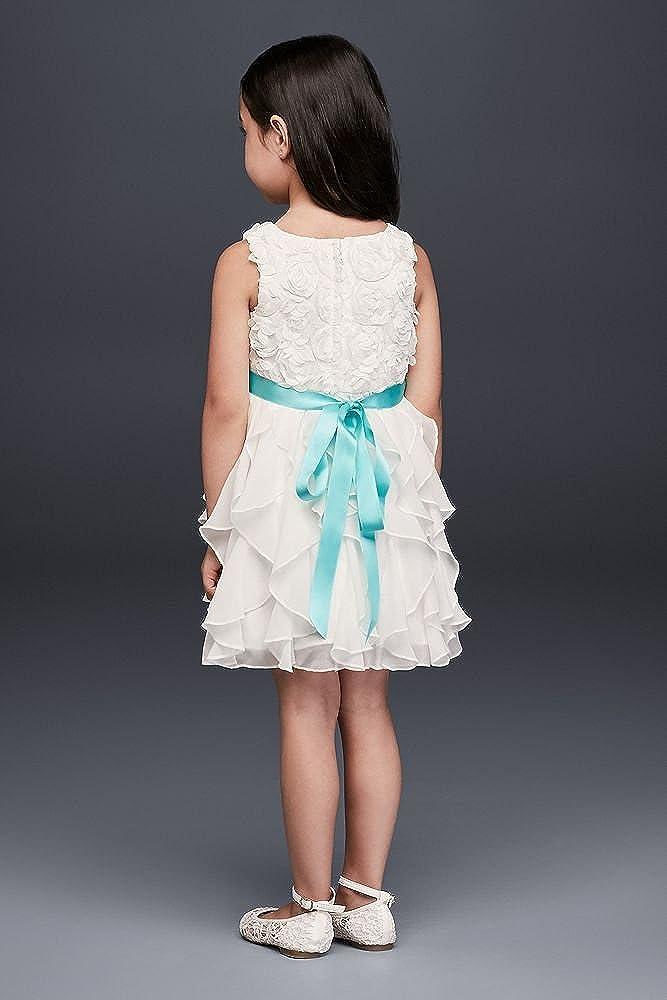 c1e30427009 Amazon.com  David s Bridal Rosette Flower Girl Communion Dress with Ruffled  Skirt Style OP242  Clothing