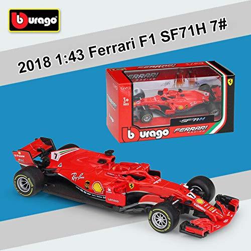 (Bburago 2018 Ferrari Racing Formula 1 F1 SF71H #7 Kimi Raikkonen Diecast Car 1:43 Scale 36809 KR )
