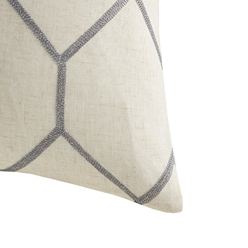 Brooklyn Metallic Geo Linen Woven Modern Throw Pillow , Contemporary Embroidered Pattern Square Decorative Pillow , 20X20″, Set Of 2 , Grey