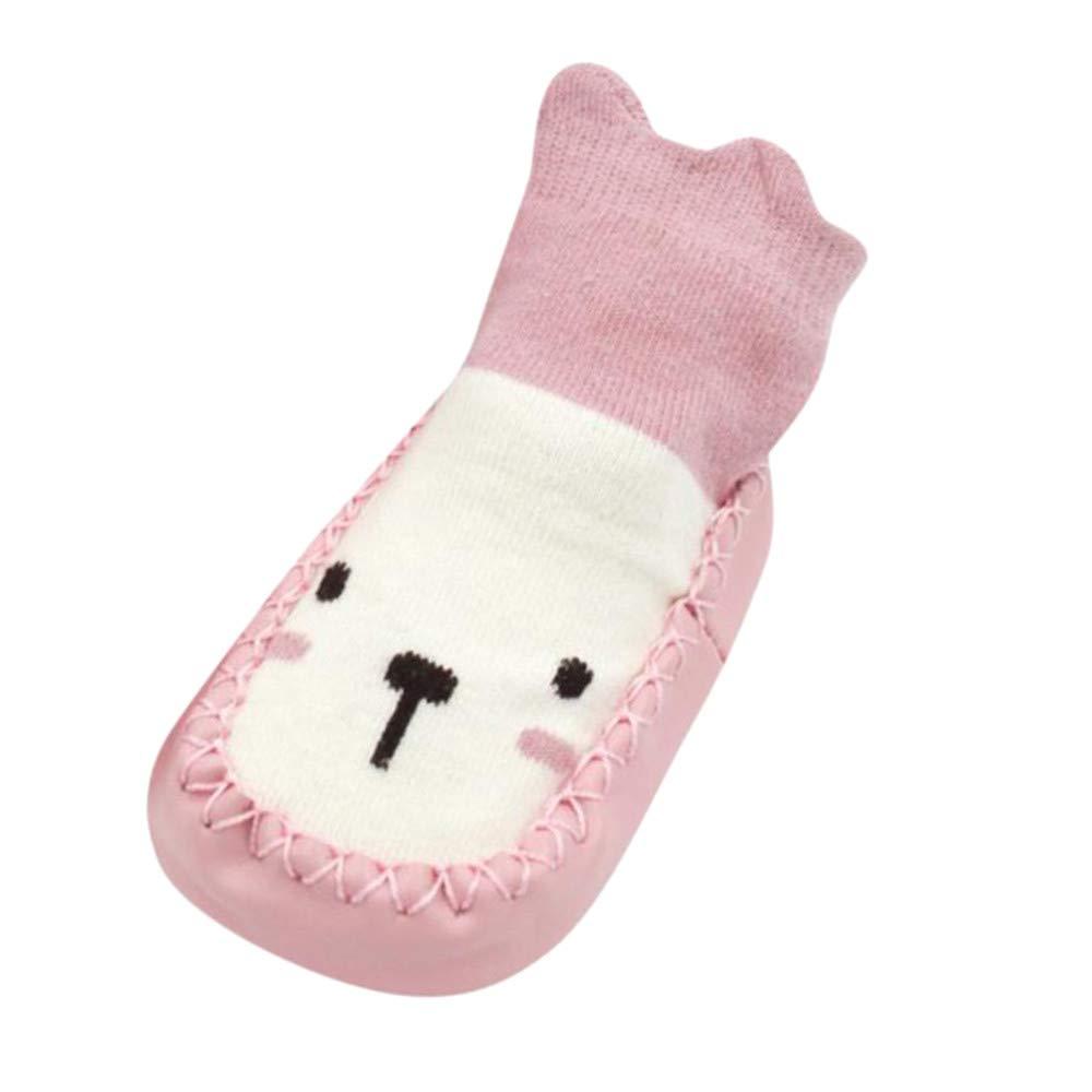 Inkach Newborn Baby Anti-Slip Slipper Floor Socks Soft Bottom Winter Knit Non-Slip Booties Shoes (Age:6-12Month/Label Size:12, Pink)