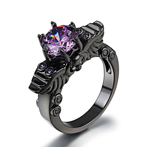 FENDINA Womens Vintage Black Gold Plated Wedding Engagement Rings Double Dragon Head 6 Prong Created Amethyst Solitaire Anniversary Promise Rings