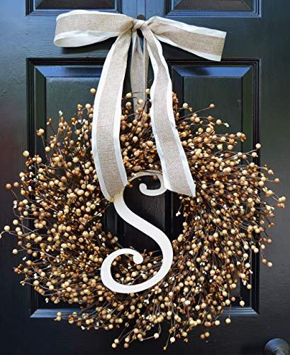 (Elegant Holidays Handmade Caramel Berry Wreath w/Monogram & Bow, Decorative Front Door to Welcome Guests- Outdoor Indoor Home Wall Accent Décor Great for All Seasons- Fall, Year Round Wreath 16-24 in)