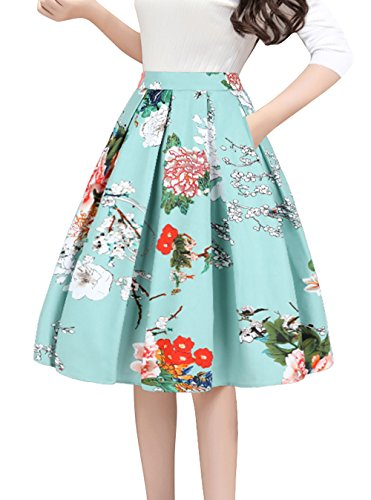 Tandisk Women's Vintage A-line Printed Pleated Flared Midi Skirts with Pockets Green Flower XL ()
