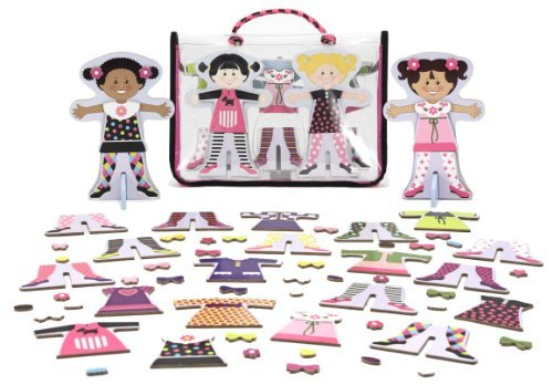 Melissa & Doug Tops & Tights - Magnetic Dress Up Wooden Doll & Stand & 1 Scratch Art Mini-Pad Bundle (04943) by Melissa & Doug