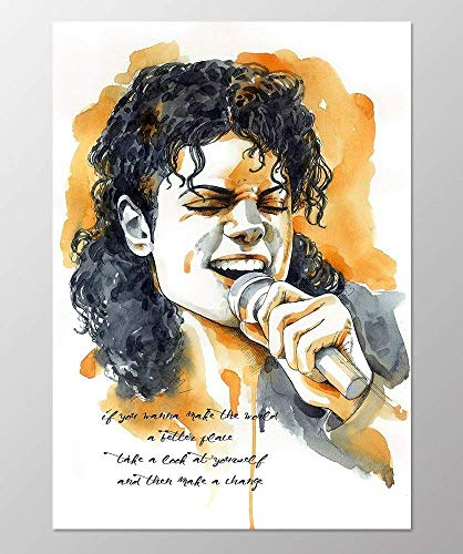 Michael Art Supply (11x14 Michael Jackson poster #A098. Michael Jackson song quote. Michael Jackson wall art. Michael Jackson art print.Poster of Michael Jackson.Michael Jackson gifts.Orange wall)
