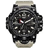 KXAITO Men's Sports Outdoor Waterproof Military Watch Date Multi Function Military LED Alarm Stopwatch (Beige)