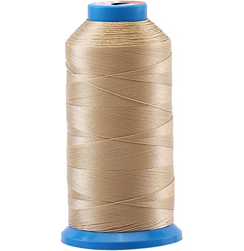 Selric [1500 Yards/Coated/No Unravel Guarantee/21 Colors Available] Heavy Duty Bonded Nylon Threads #69 T70 Size 210D/3 for Upholstery, Leather, Vinyl, and Other Heavy Fabric (Khaki)