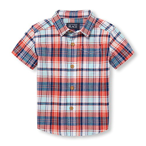 Baby Boys Short Sleeve Button-up Shirt, Fiery Red 98063, 18-24MONTH ()