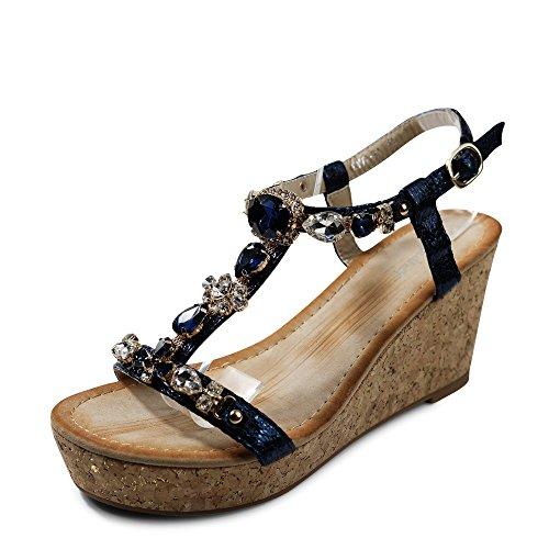 Schuhtraum Damen Sandalen Keilabsatz Sandaletten Glitzer High Heels Wedge ST921 Dunkelblau