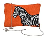 Orange Beaded Zebra Women's Evening Clutch With Zippered Closure, Removable Chain Strap and Tassel Fringe Charm