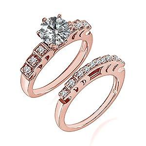 0.74 Carat G-H I2-I3 Diamond Engagement Wedding Anniversary Halo Bridal Ring Set 14K Rose Gold