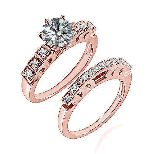 0.99 Carat G-H I2-I3 Diamond Engagement Wedding Anniversary Halo Bridal Ring Set 14K Rose Gold ()