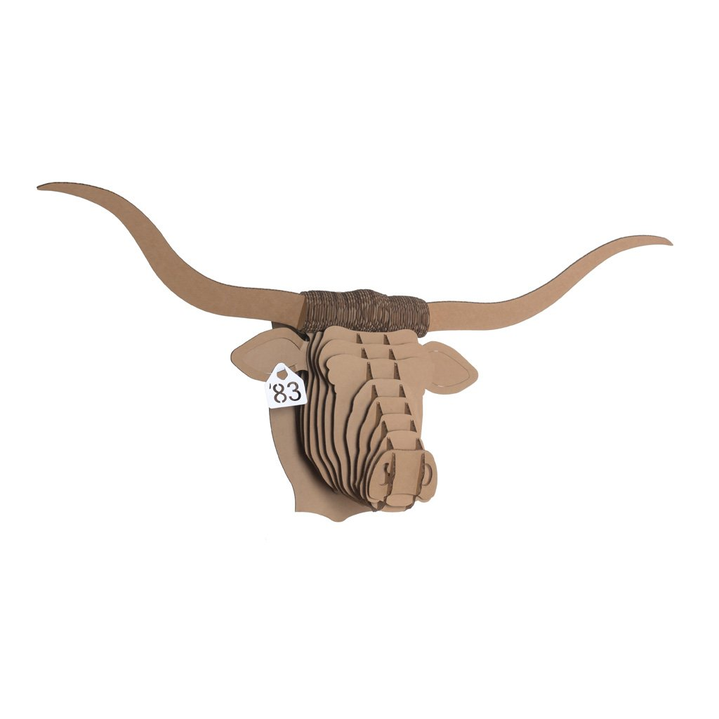 Cardboard Safari Recycled Cardboard Animal Taxidermy Longhorn Trophy Head, Tex Brown Large