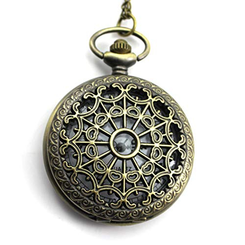 - Retro Spider-Web Carving Hollow Out Design Clamshell Chain Quartz Pocket Watch
