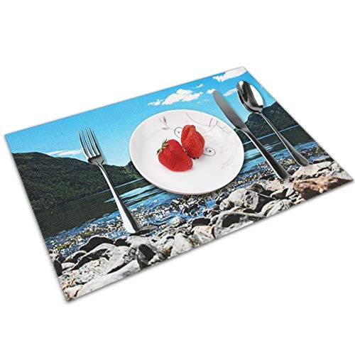 POQQ Placemats for Dining Table Ullswater Lake District 4, Washable Easy to Clean PVC Placemat, Heat Resistand Kitchen Dinner Table Mats 12x18 Inches Set of 4