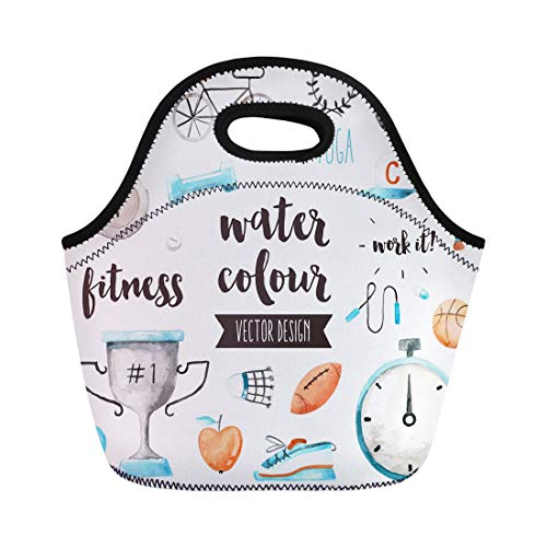 Semtomn Lunch Bags Premium Watercolor of Sports Awards and Fitness Activity Benefits Neoprene Lunch Bag Lunchbox Tote Bag Portable Picnic Bag Cooler ()