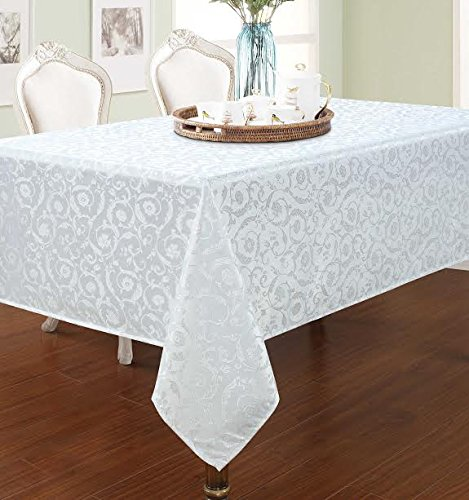 """Elegant Home White Floral Jacquard Rectangle Tablecloth Heavy Weight Fabric Table Cover for Kitchen Dinning Tabletop Linen Decor (60"""" X 104"""")"""