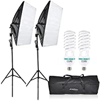 Andoer Photography Studio Lighting Kit Softbox Cube Tent Video Equipment with 135W Bulb 200cm Light Stand 50x70cm Softbox and Carrying Bag for Studio Photography