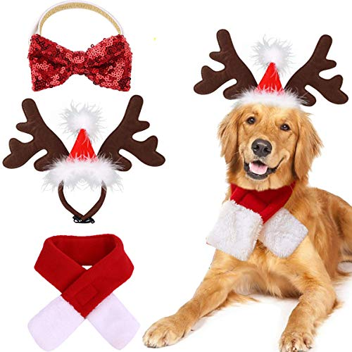 OLI Pet Antlers Headband with Scarf and Bowtie Collar, Dog Xmas Headwear Elk Hat Costume Reindeer with Santa Claus Cap Head Hoop Accessories Costume Outfits for Small and Medium Dogs Cats Puppy