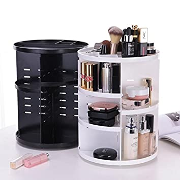 CoSmile Makeup Organizer Countertop 360 Degree Rotation Adjustable  Multi Function Cosmetic Storage Box,Compact