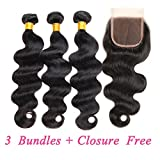 ZILING Brazilian virgin hair body wave bundles with lace closure human hair 3 bundles with closure extensions hair (22 24 26 w 20 Free Part)