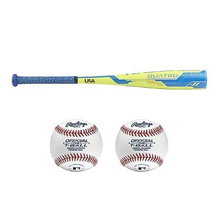Amazon com : Rawlings 2018 Quatro USA Youth T-Ball Bat (25