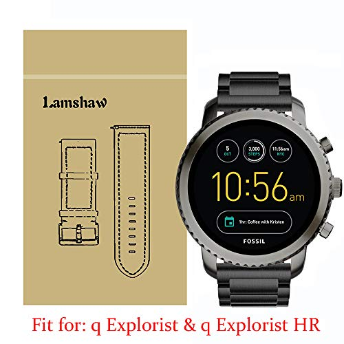 Lamshaw Smartwatch Band for Fossil Q Explorist, Stainless Steel Metal Replacement Straps for Fossil Q EXPLORIST Gen 3 / Q EXPLORIST HR Gen 4 (Black)