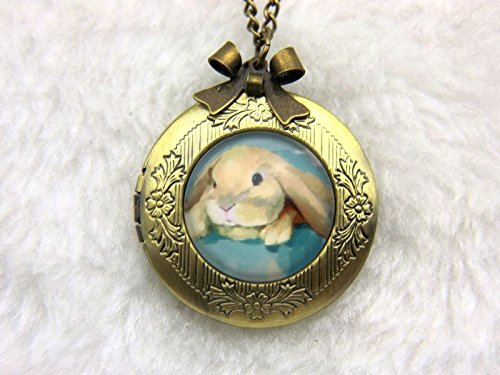 Glass Medallion Rabbit Photo Locket Necklace-Cute Rabbit Vintage Bronze Bowknot Picture Locket-Charm Pendant-Handmade Art Jewelry Necklace Locket-Glass Necklace Jewelry For Women or Men