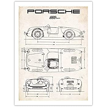 Porsche 550 Spyder Poster, 1953 Vintage Racing Car Art Print, 18x24 in, Matte Paper