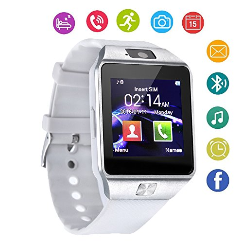 DZ09 Bluetooth Smart Watch Touch Screen with Camera and SIM Card TF/SD Card Slot Pedometer Activity Tracker for iPhone Android Phones Samsung Huawei PK GT08 A1 (White)