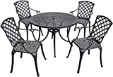 Cheap Crosley Furniture Sedona 42-Inch Five Piece Cast Aluminum Outdoor Dining Set with High Back Arm Chairs in Black Finish