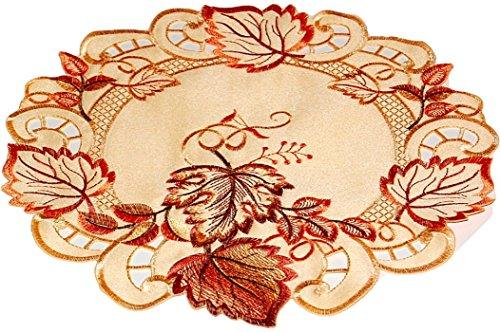 klassische TISCHDECKE rund 20 cm Herbst Gelb BLÄTTER orange rot üppig gestickt Polyester Deckchen (Deckchen 20 cm rund)