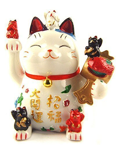 Feng Shui Maneki Neko Lucky Cat Coin Bank for Wealth (With a Betterdecor Logo Gift Bag) ()